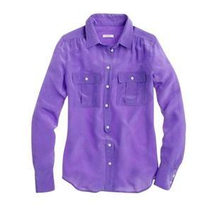 J.Crew Blythe Blouse in Silk Purple Violet Sz 8